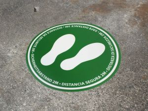 Social distancing stickers, in English, French, Spanish, Italian & German